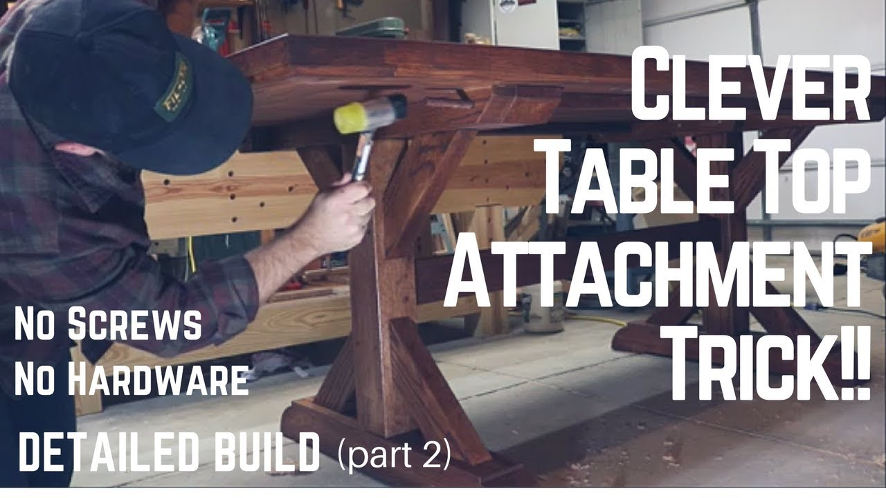 how to make a wooden chair wheelchair hire bali table top build + genius method of attaching base   woodworking tip trick ...
