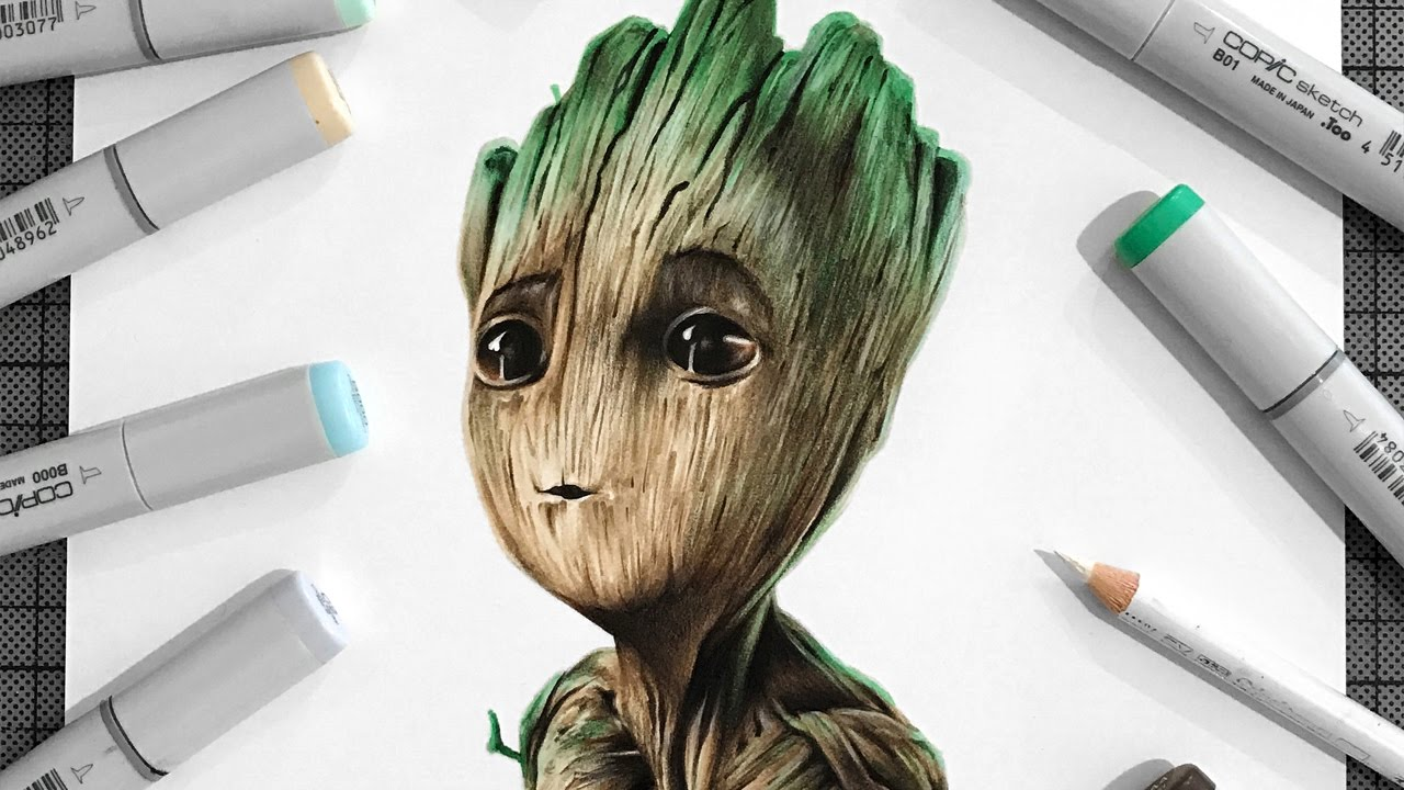 Drawing Baby Groot Guardians Of The Galaxy Vol 2 Youtube