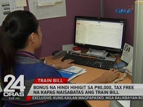 Bonus na hindi hihigt sa P90,000, tax free na kapag naisabatas ang train bill