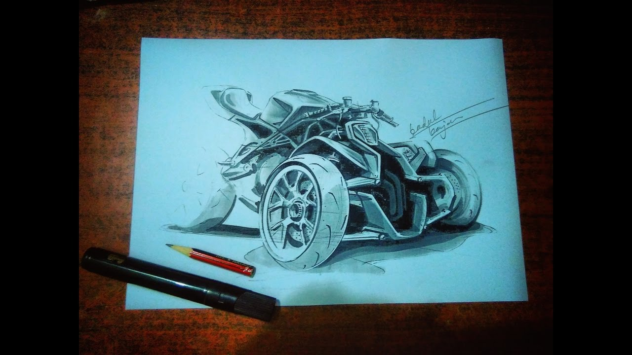 Ducati Trike Concept 3 Tyre Bike Time Lapse Sketch Youtube