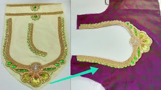Download Readymade Patch Work Neck Attachment For Blouse ||Designer Blouse Cutting And Stitching Mp3 and Videos