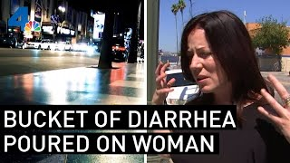 Bucket of Hot Diarrhea Randomly Poured on Woman by a Homeless Man in Hollywood | NBCLA