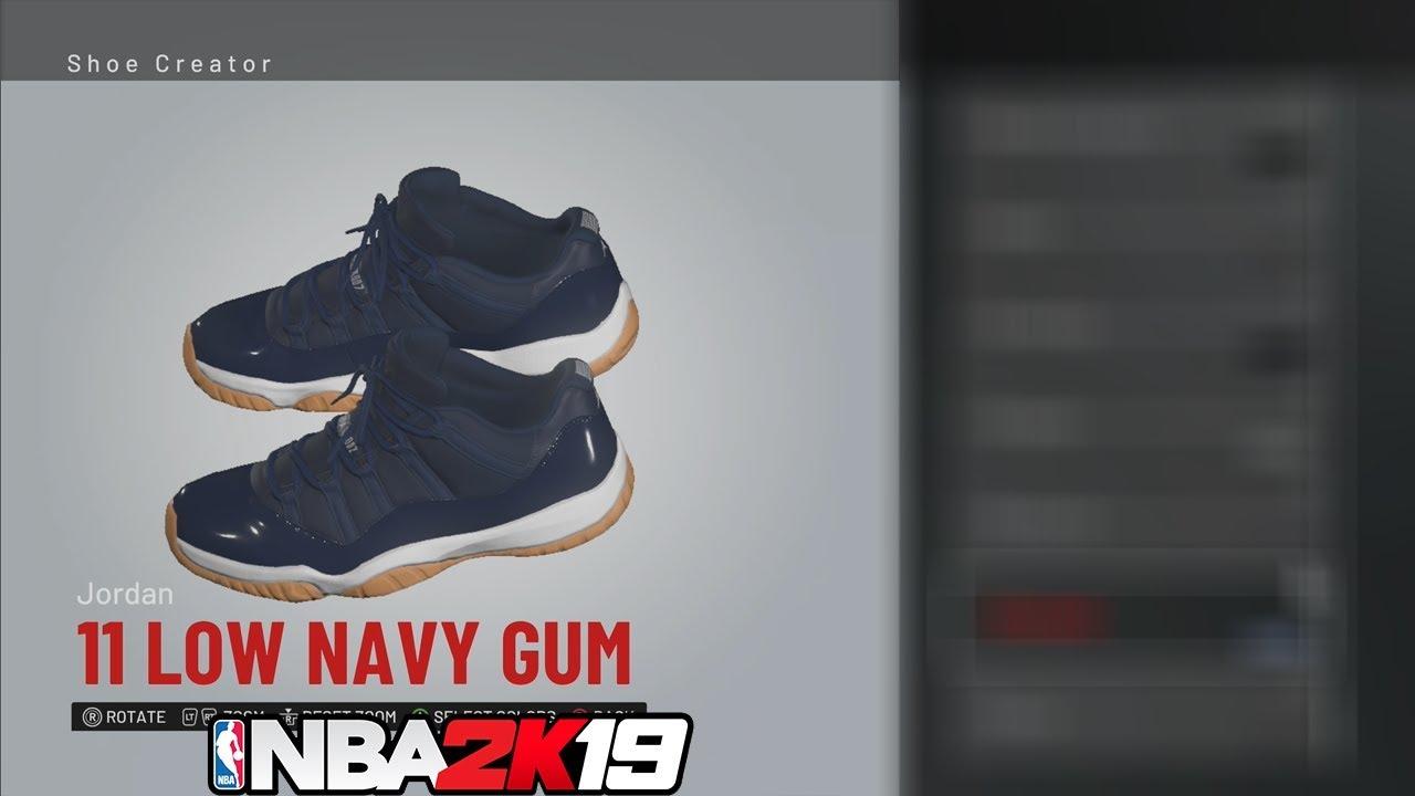 e1b2de82c3ed NBA 2K19 Shoe Creator Jordan 11 Low Navy Gum  NBA2K19 👟🔥🔌 - YouTube