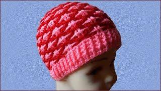 Узор для шапки, шарфа, пледа. Узор крючком для шапки. Шапка узором. Шапка крючком. (Crochet pattern)