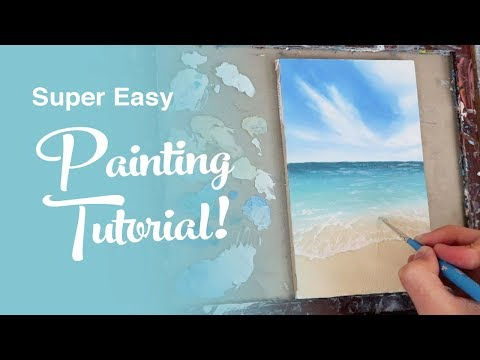 SUPER EASY Painting Tutorial - Ocean painting with oils for beginners
