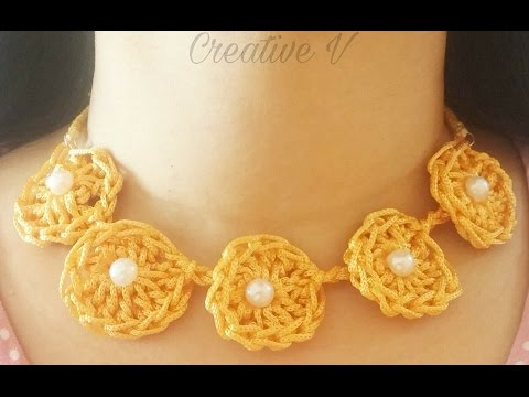 How To Make Crochet Necklacetutorial Youtube