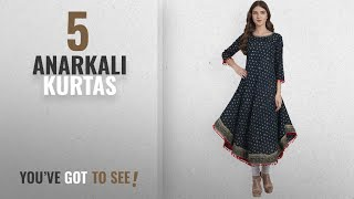 Top 10 Anarkali Kurtas [2018]: Amayra Women's Cotton Printed Blue Anarkali Kurti