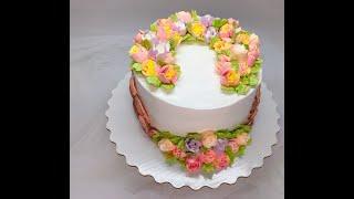 оформление торта БЗК ( Белково - заварной крем ) Новогодние мотивы ( Хлопок из крема, шишки)