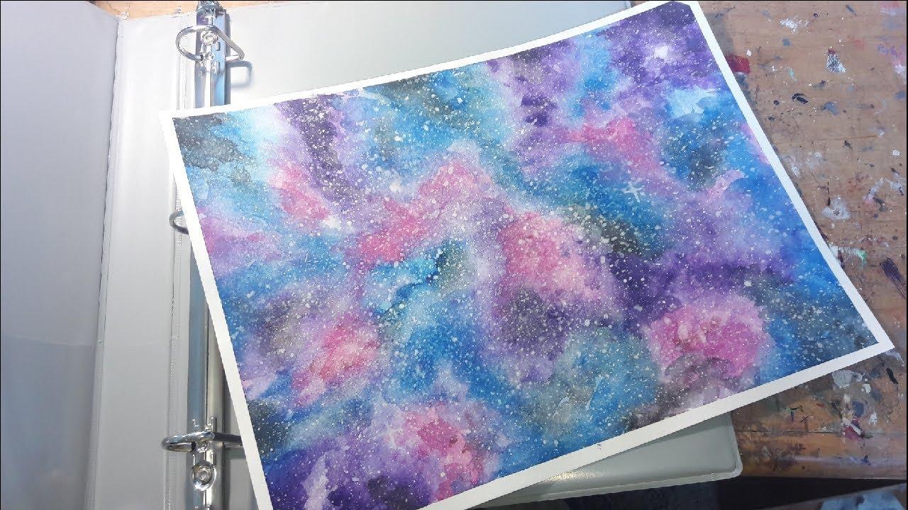 Diy Galaxy Book Cover : Diy galaxy watercolor painting back to school binder