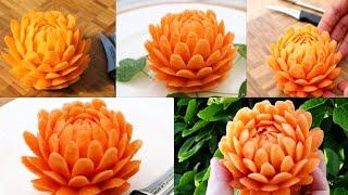 Super Salad Decoration Ideas - Simple Sweet Potato Flower Carving Garnish