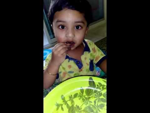 Baby bites Chicken bones at 1- Abriyd