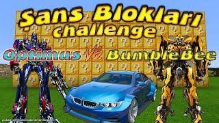 Örümcek Çocuk Şans Blokları Challenge Optimus Prime vs Bumblebee Minecraft Videoları