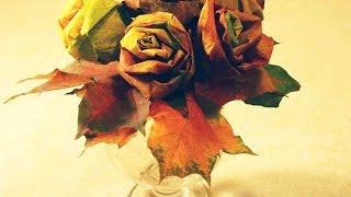 Букет из листьев. Осенний Букет Роз из кленовых листьев.