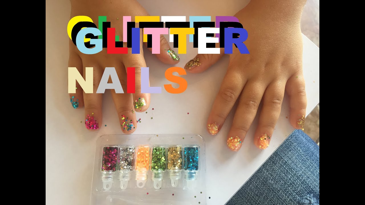 Glitter Nails Little Girl Gets Her Nails Painted - YouTube