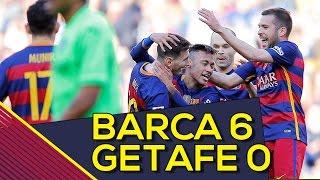 Fc barcelona 6-0 getafe | goles: rodríguez (pp.), munir, messi, neymar (x2), arda turan | resumen