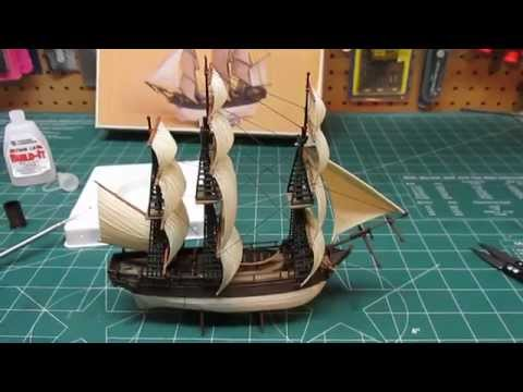 Academy Minicraft HMS Bounty Build Part 3 Rigging Sails, Mast Assembly