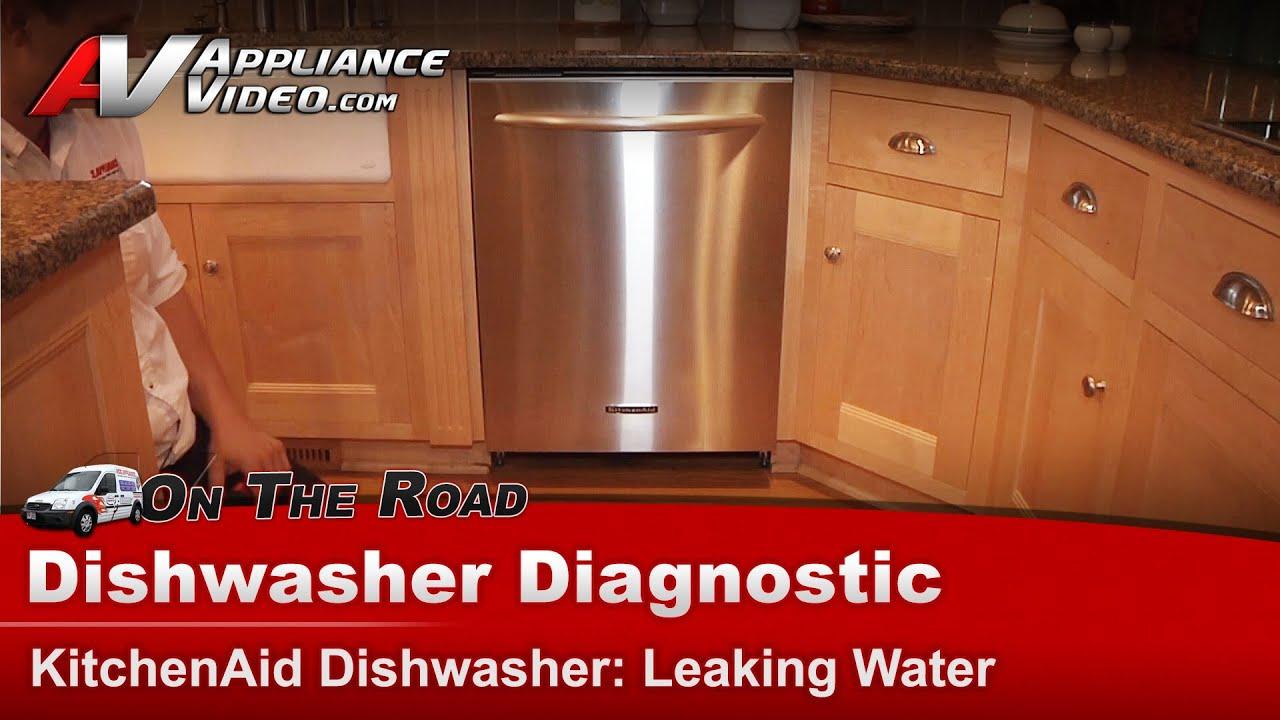 Dishwasher Leaking water on floor  Whirlpool  Kitchenaid  KUDI02FRSS2  YouTube