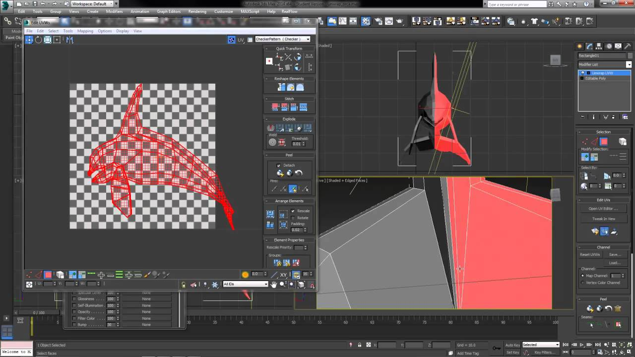 Basic uvw unwrap modifier in 3ds max youtube - Materiale specchio 3ds max ...