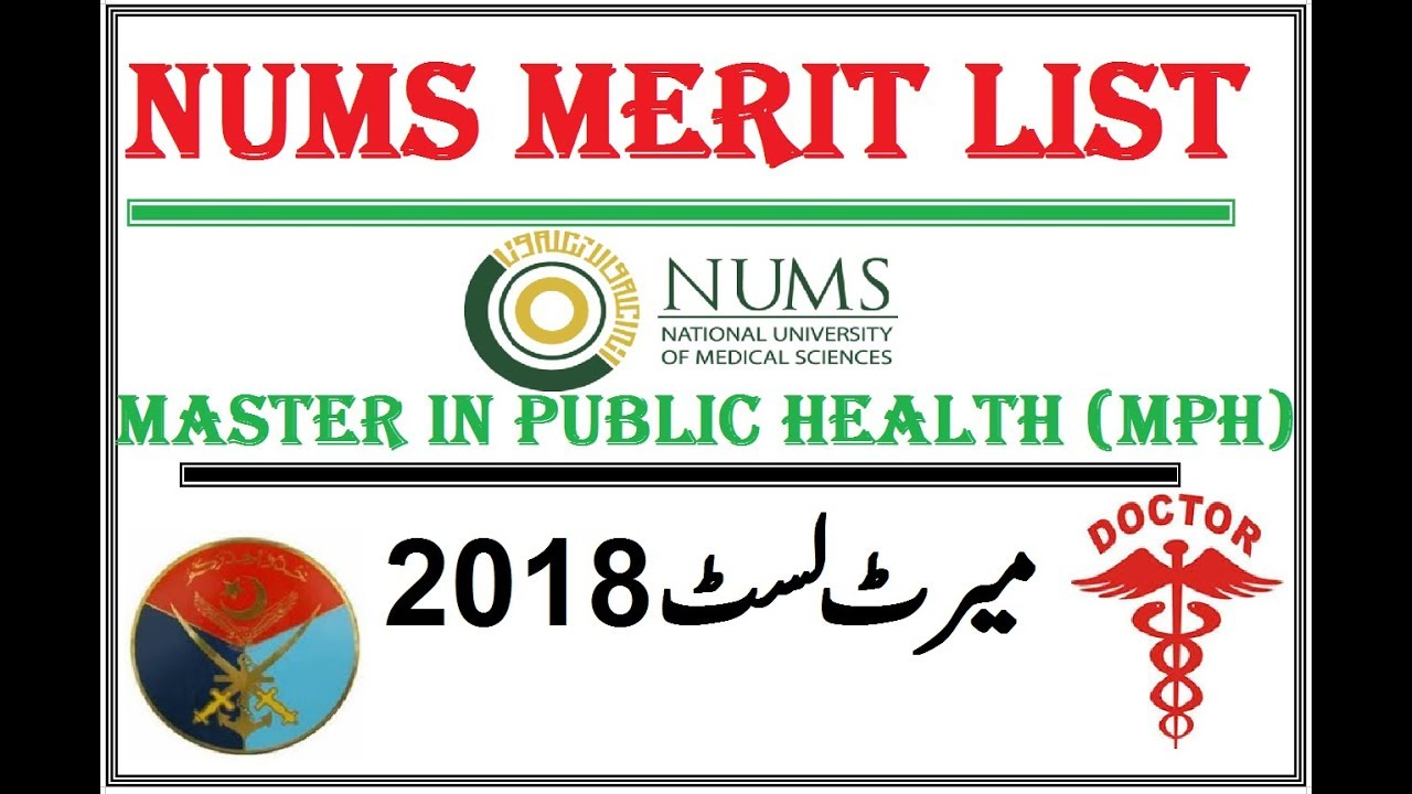 NUMS Announced Merit List 2018 !! MPH Admissions