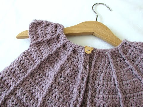 How to crochet a little girl's cable cardigan / sweater