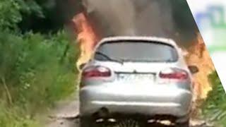 Pożar samochodu w miejscowości Nowa Wieś