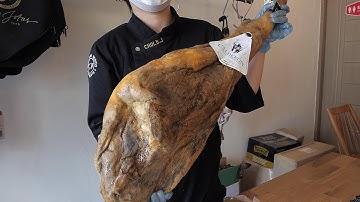 돼지 통다리 자르기 - 스페인 하몽 카빙하기 / iberico pork leg cutting - spanish ham carving / korean street food