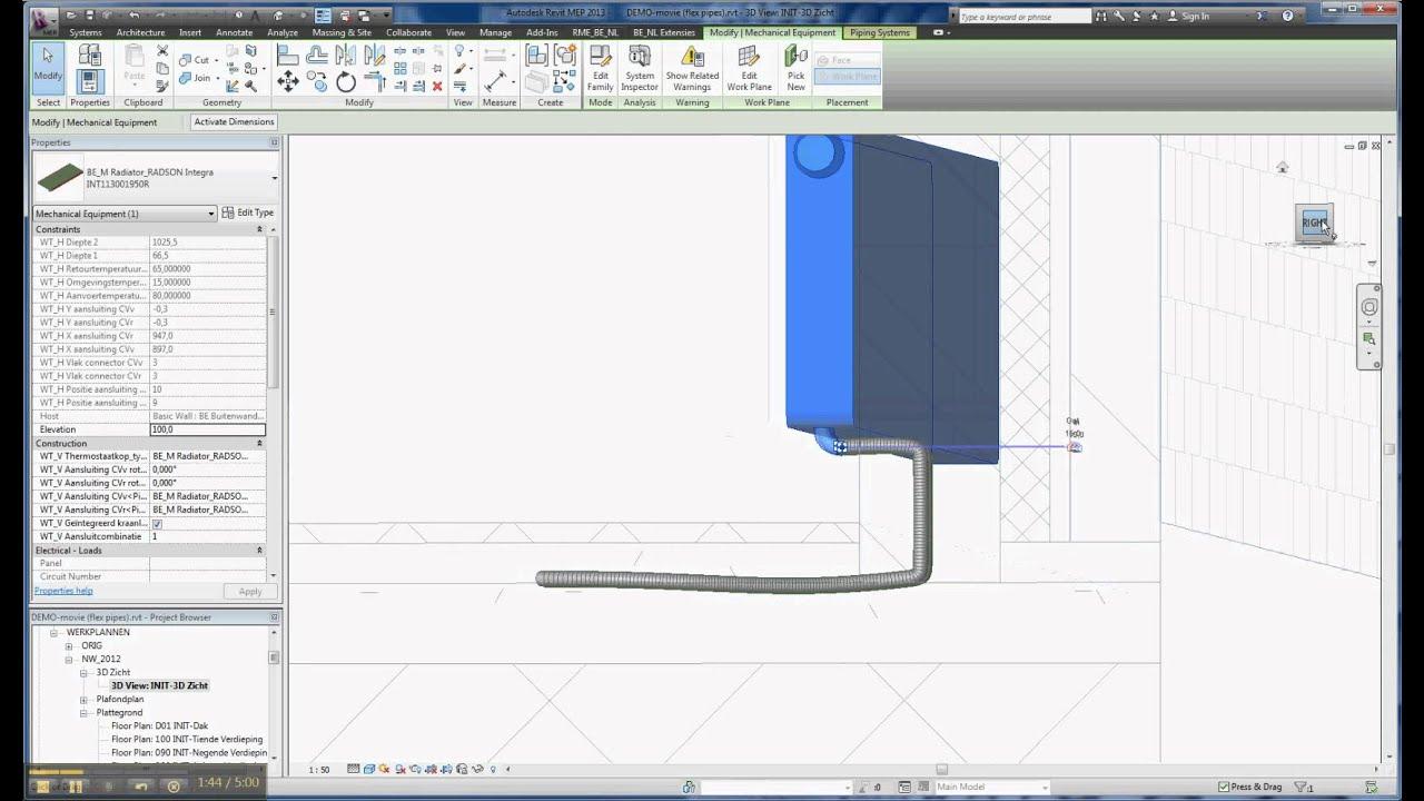 Demo draw flex pipes automatically - YouTube