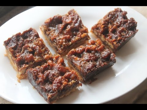Pecan Shortbread Squares Recipe - Eggless Pecan Bars Recipe