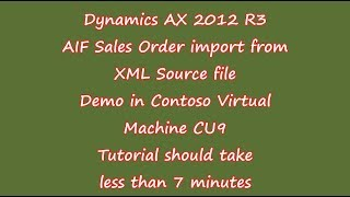 Dynamics AX 2012R3-AIF Kundenauftrag importieren von XML