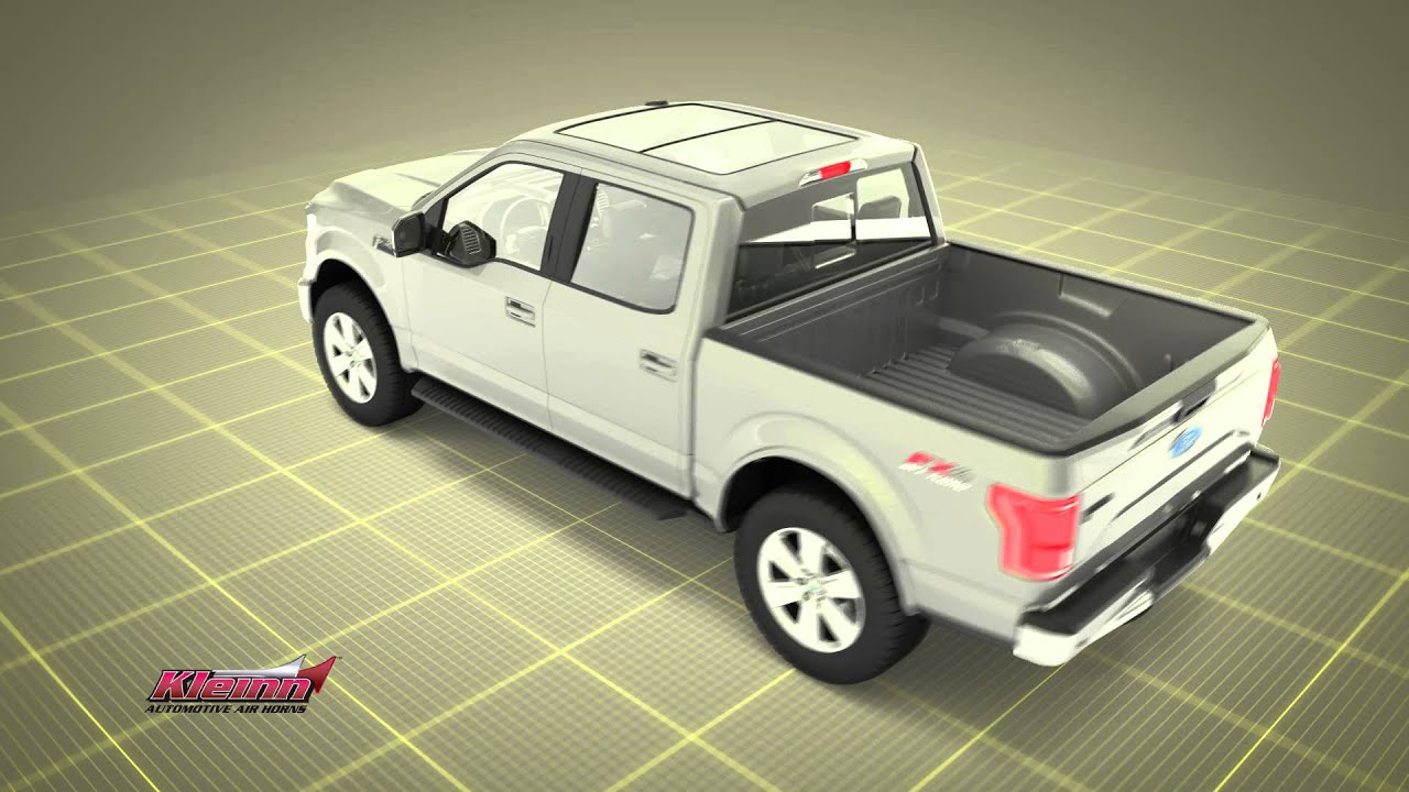 complete onboard air train horn system designed for 2015 2016 ford f150 trucks [ 1280 x 720 Pixel ]