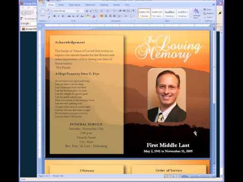 WN free funeral program template – Free Memorial Service Program