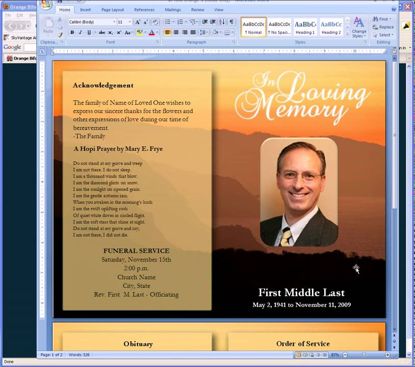 Free Funeral Program Templates YouTube – Free Funeral Programs