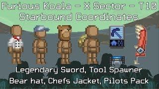 Starbound Coordinates [X][T10]: Legendary Sword, Tool Spawner, Bear hat, Chefs Jacket, Pilots Pack
