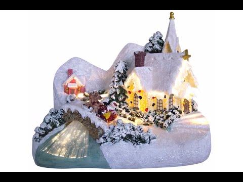 Illuminated & Animated Winter Church Village Scene Ornament