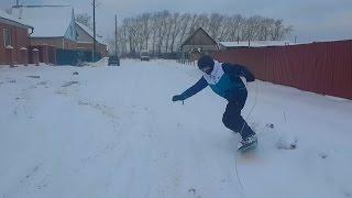 На сноуборде за машину / Тюмень 2015