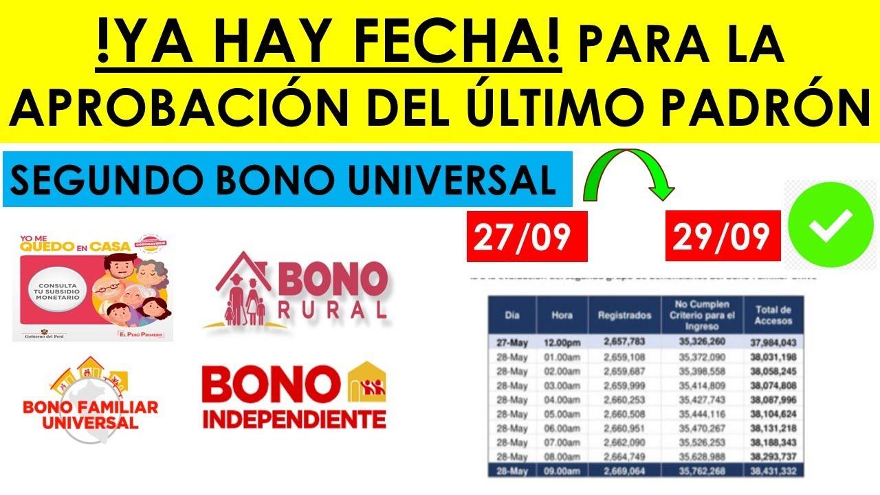 SEGUNDO BONO UNIVERSAL| Ya hay fecha para la aprobación del padrón del Nuevo Bono