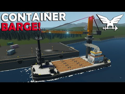 Container Barge w/Crane!  -  Stormworks Gameplay