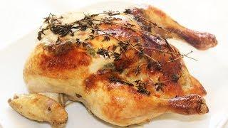 Как запечь фаршированную яблоками курицу в духовке!
