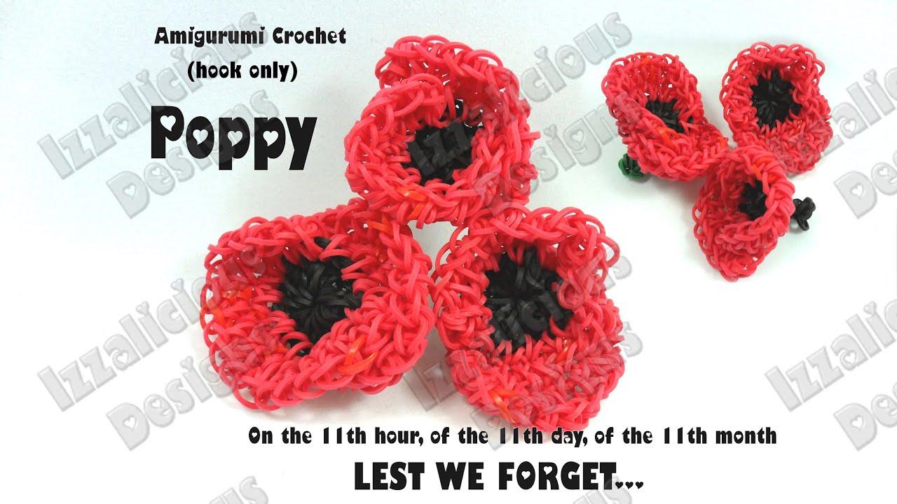 rainbow loom amigurumi crochet poppy for veteran u0027s remembrance