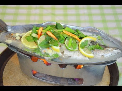How To Make Thai Steamed Fish In Lime Sauce ปลากะพงนึ่งมะนาว