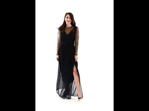 Video: Sukienka szyfonowa maxi z koronkową górą