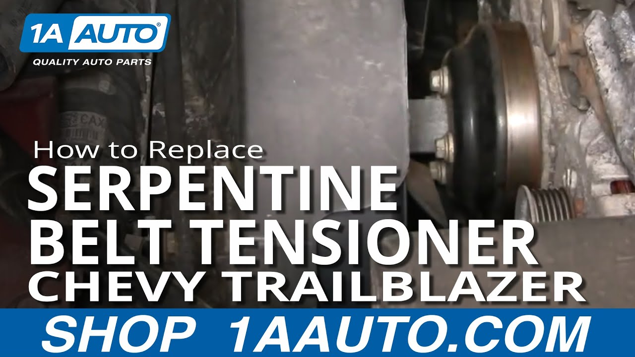 how to install replace serpentine belt tensioner trailblazer 4 2l 02 05 1aauto com [ 1280 x 720 Pixel ]
