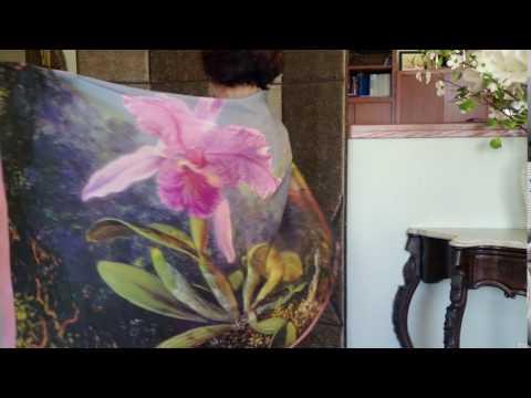 # 49 Cattleya Orchid and Three Hummingbirds Silk Scarf/Shawl