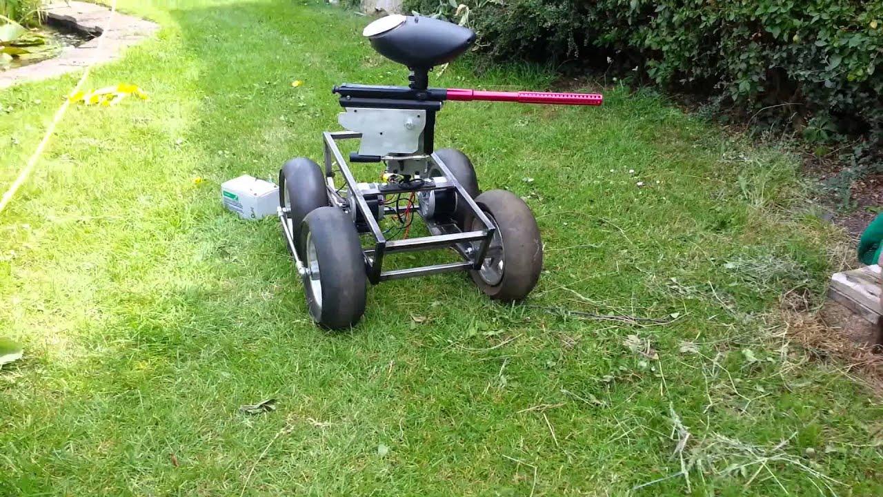 Paintball Gun Robot Turret Pan Test 12 Volt Youtube