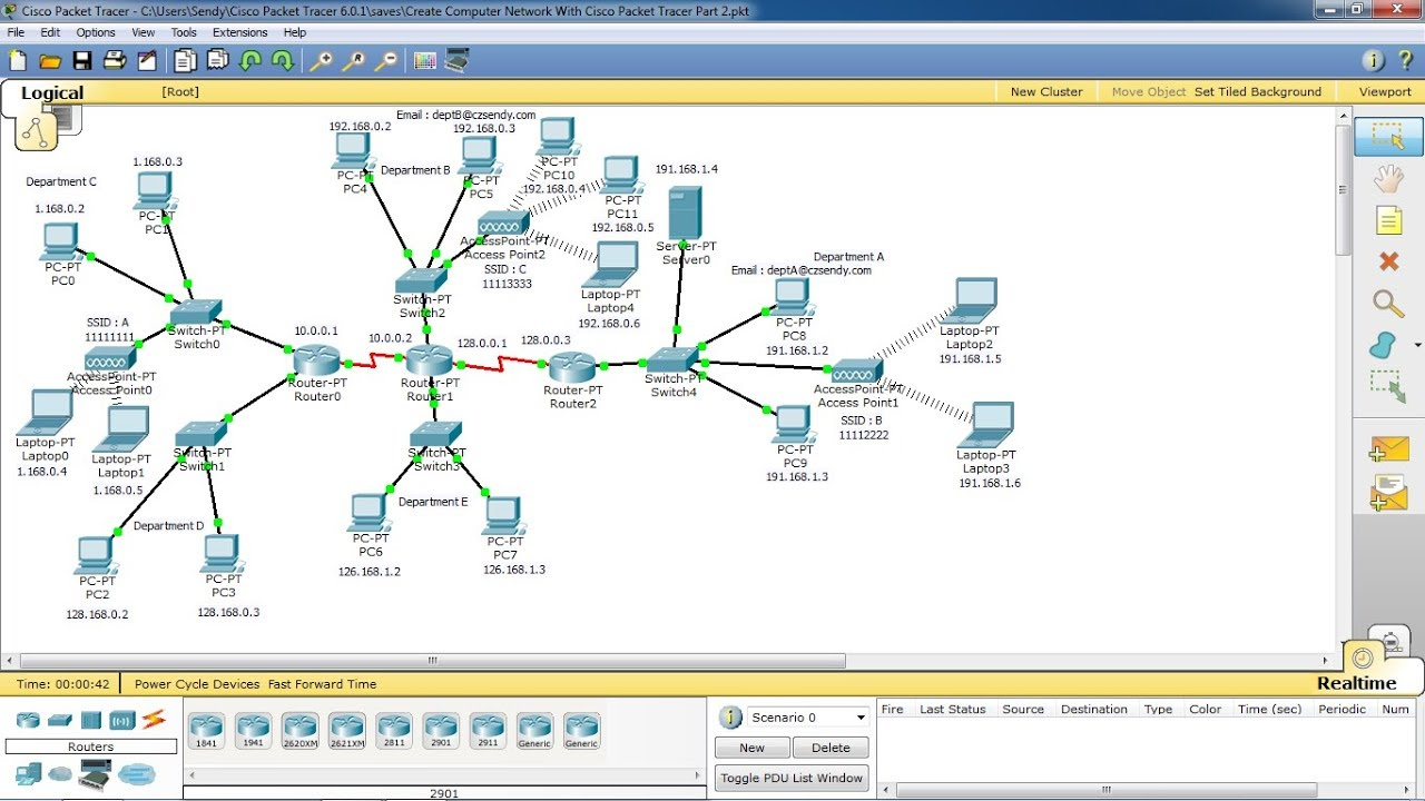 Create Computer Network With Cisco Packet Tracer Part 1 Youtube