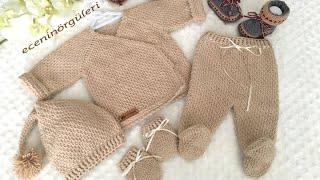 Tunus işi Yeni doğan Zıbın Hırka Nasıl Yapılır /nevborn cardigan /easy Baby crochet