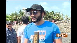 Bollywood celebs Jackky Bhagnani and Pooja Bhatt at Chimbai beach for clean up drive