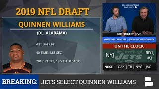 Quinnen Williams Picked By New York Jets With Pick #3 In 1st Round of NFL Draft - Grade & Analysis