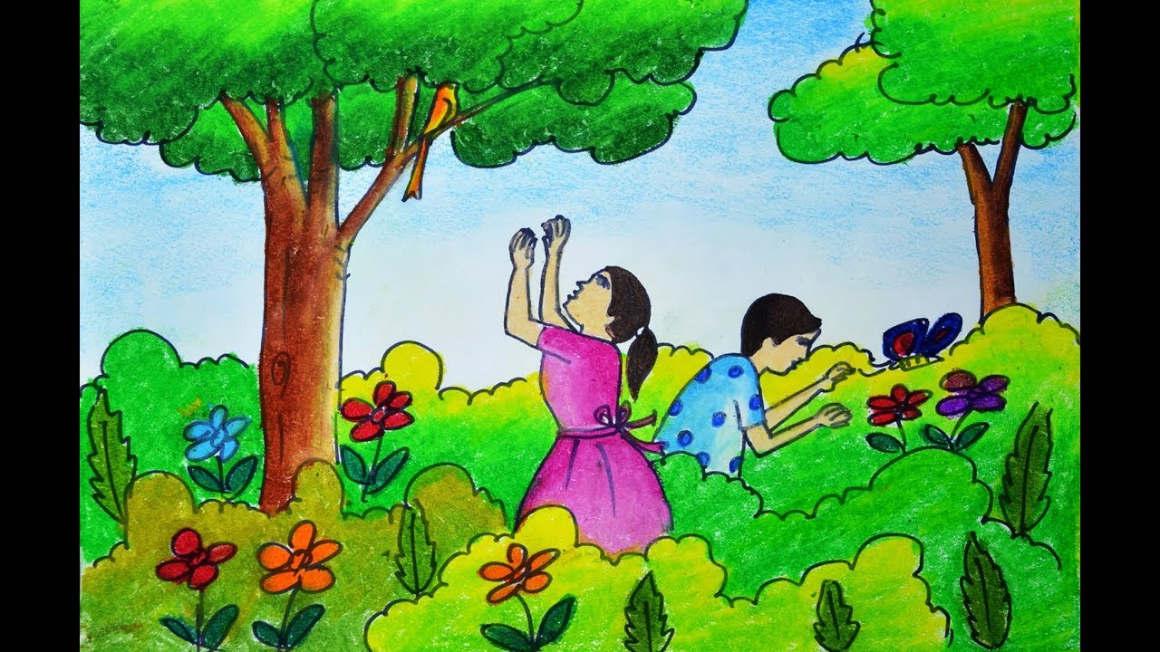 How to draw scenery of spring season very easy spring season drawing