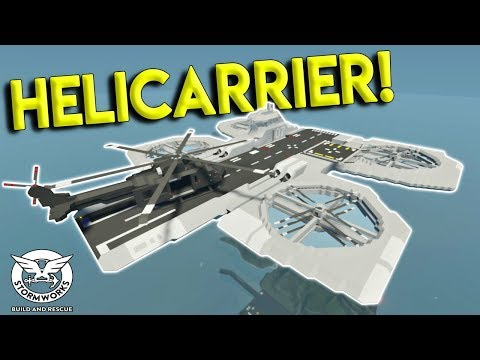 EPIC HUEY HELICOPTER LANDS ON HELICARRIER! - Stormworks: Build and Rescue Update Gameplay
